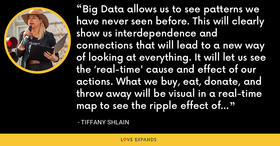 Big Data allows us to see patterns we have never seen before. This will clearly show us interdependence and connections that will lead to a new way of looking at everything. It will let us see the 'real-time' cause and effect of our actions. What we buy, eat, donate, and throw away will be visual in a real-time map to see the ripple effect of our actions. That could only lead to mores-conscious behavior. - Tiffany Shlain