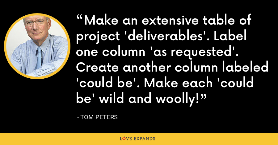 Make an extensive table of project 'deliverables'. Label one column 'as requested'. Create another column labeled 'could be'. Make each 'could be' wild and woolly! - Tom Peters