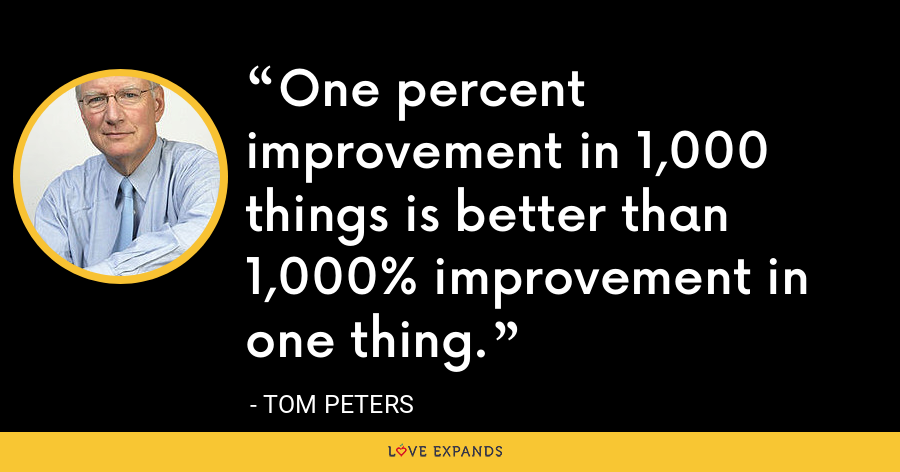 One percent improvement in 1,000 things is better than 1,000% improvement in one thing. - Tom Peters