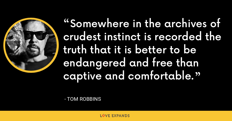 Somewhere in the archives of crudest instinct is recorded the truth that it is better to be endangered and free than captive and comfortable. - Tom Robbins