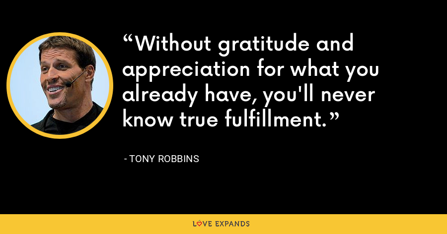 Without gratitude and appreciation for what you already have, you'll never know true fulfillment. - Tony Robbins