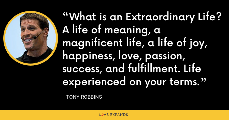 What is an Extraordinary Life? A life of meaning, a magnificent life, a life of joy, happiness, love, passion, success, and fulfillment. Life experienced on your terms. - Tony Robbins