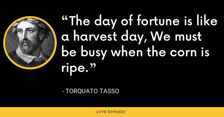 The day of fortune is like a harvest day, We must be busy when the corn is ripe. - Torquato Tasso