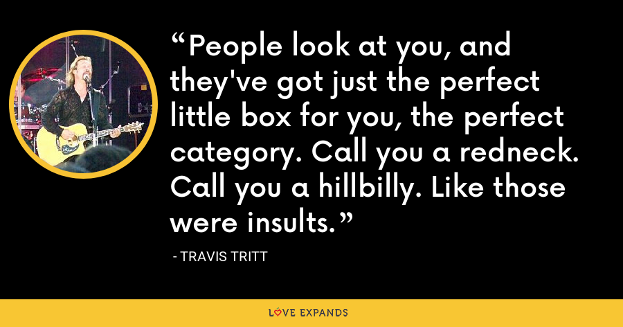 People look at you, and they've got just the perfect little box for you, the perfect category. Call you a redneck. Call you a hillbilly. Like those were insults. - Travis Tritt