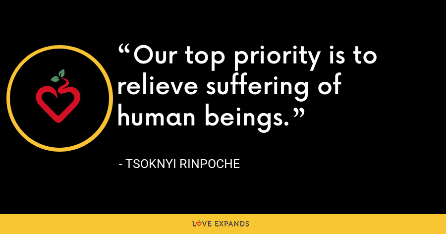 Our top priority is to relieve suffering of human beings. - Tsoknyi Rinpoche