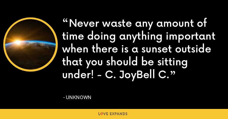 Never waste any amount of time doing anything important when there is a sunset outside that you should be sitting under! - C. JoyBell C. - Unknown