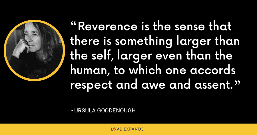 Reverence is the sense that there is something larger than the self, larger even than the human, to which one accords respect and awe and assent. - Ursula Goodenough