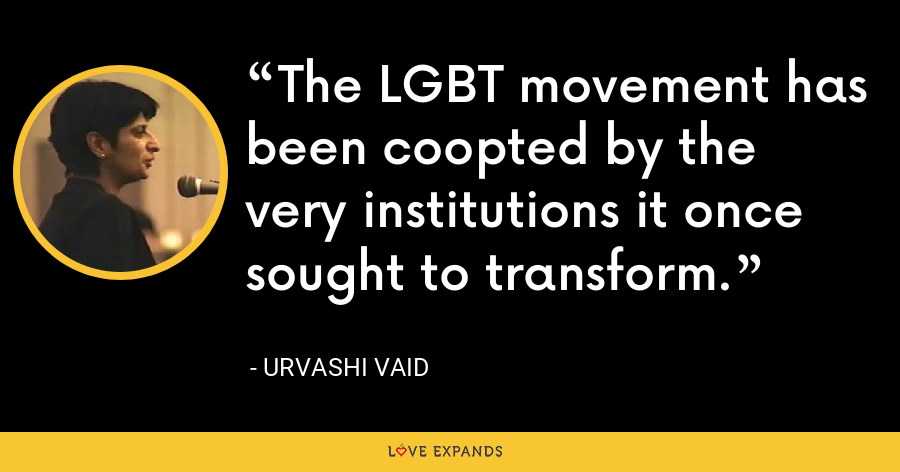 The LGBT movement has been coopted by the very institutions it once sought to transform. - Urvashi Vaid