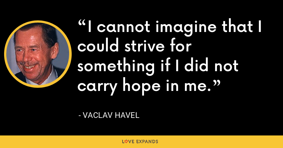 I cannot imagine that I could strive for something if I did not carry hope in me. - Vaclav Havel