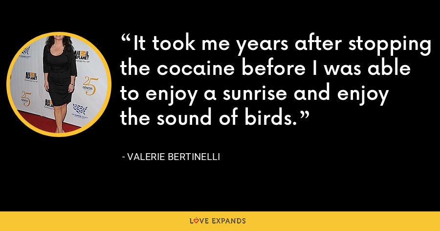 It took me years after stopping the cocaine before I was able to enjoy a sunrise and enjoy the sound of birds. - Valerie Bertinelli