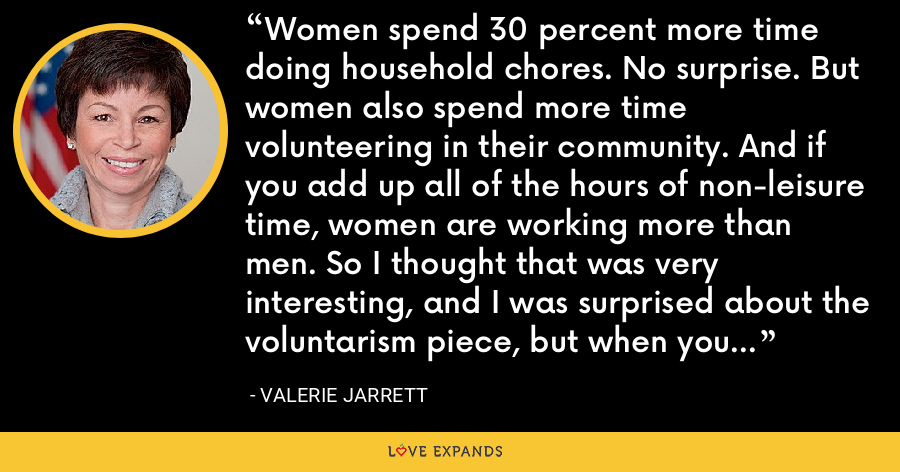 Women spend 30 percent more time doing household chores. No surprise. But women also spend more time volunteering in their community. And if you add up all of the hours of non-leisure time, women are working more than men. So I thought that was very interesting, and I was surprised about the voluntarism piece, but when you think about it, it makes sense. - Valerie Jarrett