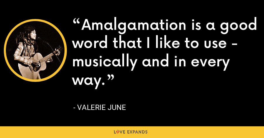 Amalgamation is a good word that I like to use - musically and in every way. - Valerie June