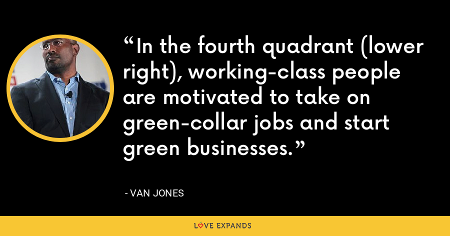 In the fourth quadrant (lower right), working-class people are motivated to take on green-collar jobs and start green businesses. - Van Jones