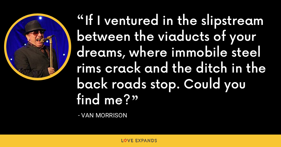 If I ventured in the slipstream between the viaducts of your dreams, where immobile steel rims crack and the ditch in the back roads stop. Could you find me? - Van Morrison
