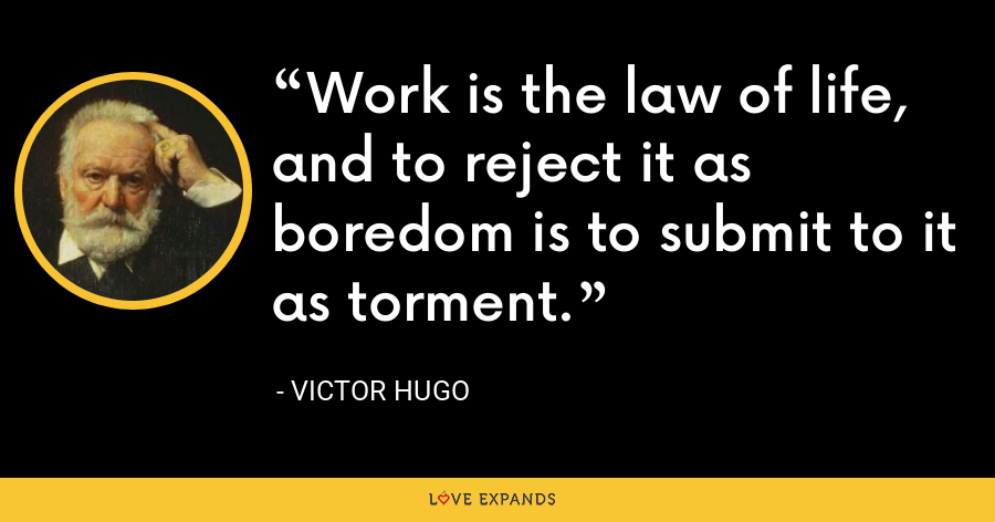 Work is the law of life, and to reject it as boredom is to submit to it as torment. - Victor Hugo