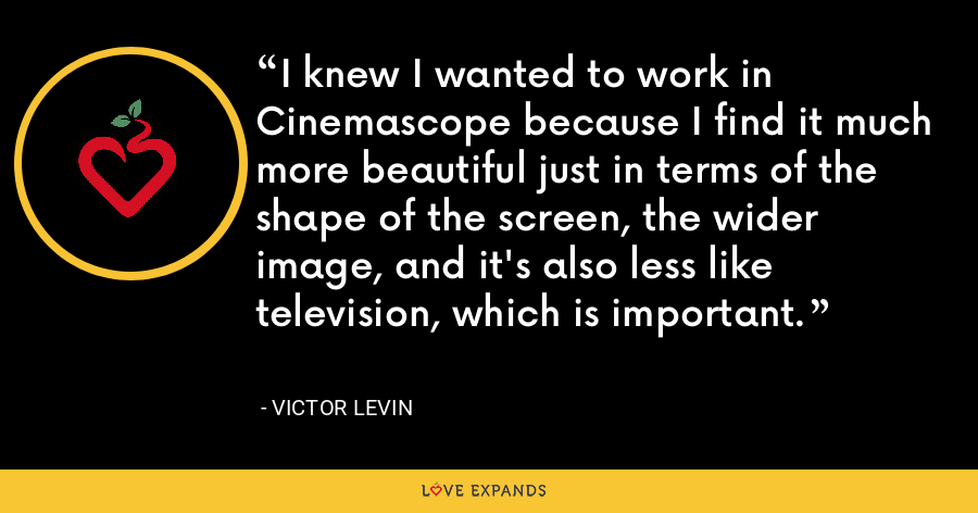 I knew I wanted to work in Cinemascope because I find it much more beautiful just in terms of the shape of the screen, the wider image, and it's also less like television, which is important. - Victor Levin