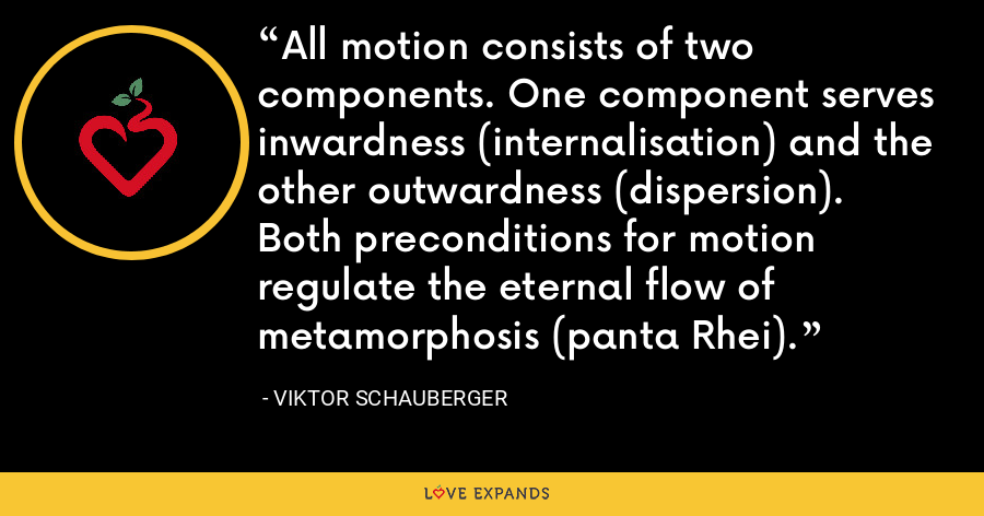 All motion consists of two components. One component serves inwardness (internalisation) and the other outwardness (dispersion). Both preconditions for motion regulate the eternal flow of metamorphosis (panta Rhei). - Viktor Schauberger
