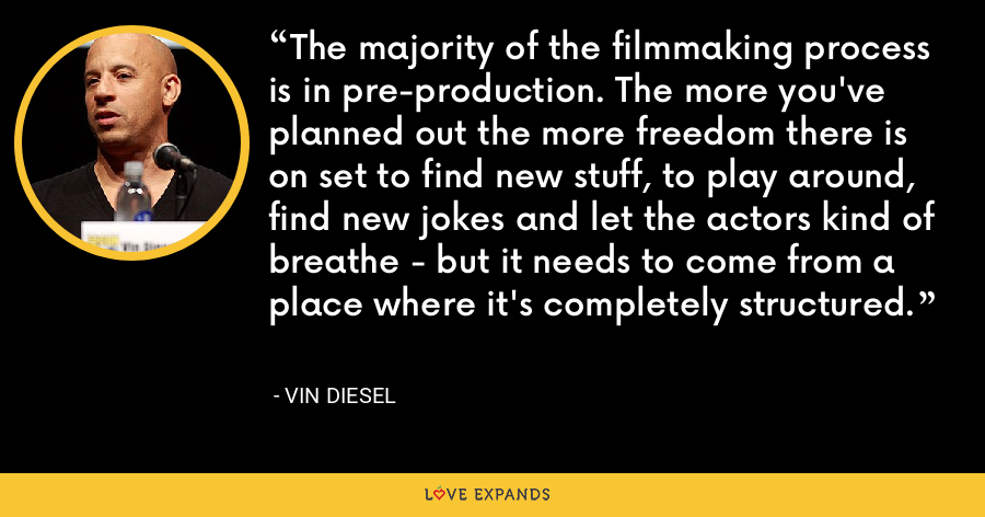 The majority of the filmmaking process is in pre-production. The more you've planned out the more freedom there is on set to find new stuff, to play around, find new jokes and let the actors kind of breathe - but it needs to come from a place where it's completely structured. - Vin Diesel