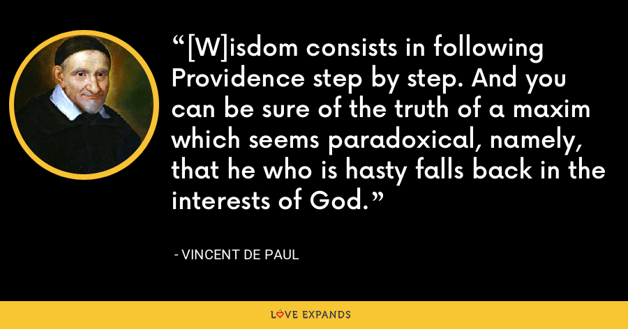 [W]isdom consists in following Providence step by step. And you can be sure of the truth of a maxim which seems paradoxical, namely, that he who is hasty falls back in the interests of God. - Vincent de Paul