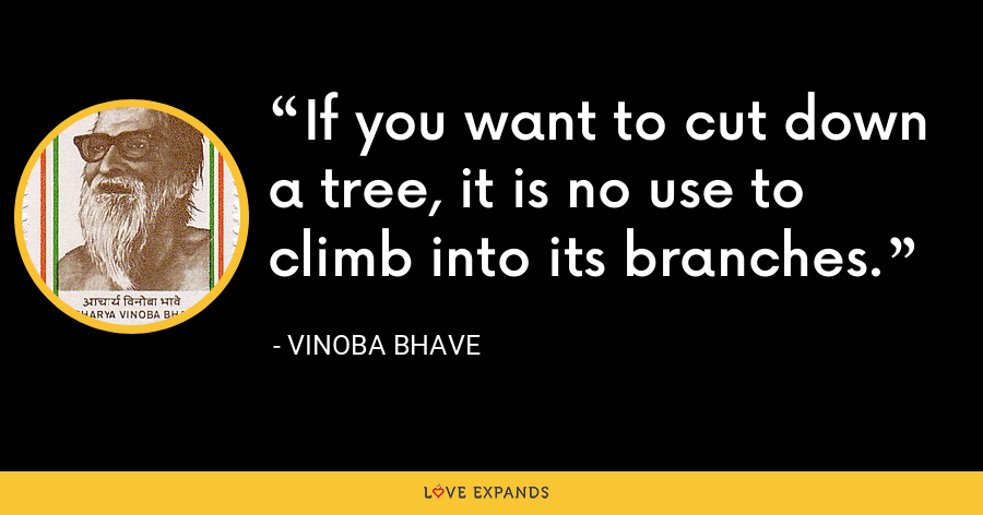 If you want to cut down a tree, it is no use to climb into its branches. - Vinoba Bhave