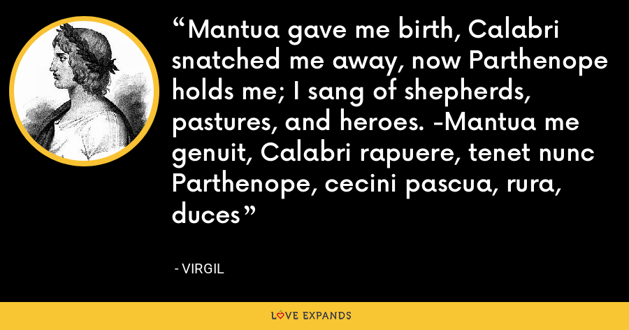 Mantua gave me birth, Calabri snatched me away, now Parthenope holds me; I sang of shepherds, pastures, and heroes. -Mantua me genuit, Calabri rapuere, tenet nunc Parthenope, cecini pascua, rura, duces - Virgil