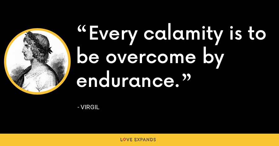 Every calamity is to be overcome by endurance. - Virgil