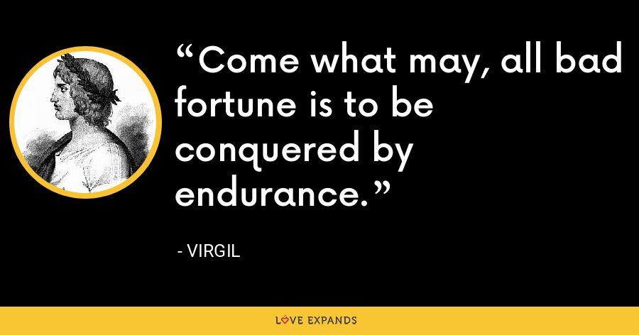 Come what may, all bad fortune is to be conquered by endurance. - Virgil