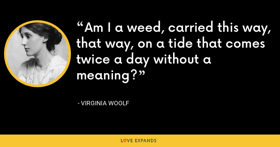 Am I a weed, carried this way, that way, on a tide that comes twice a day without a meaning? - Virginia Woolf