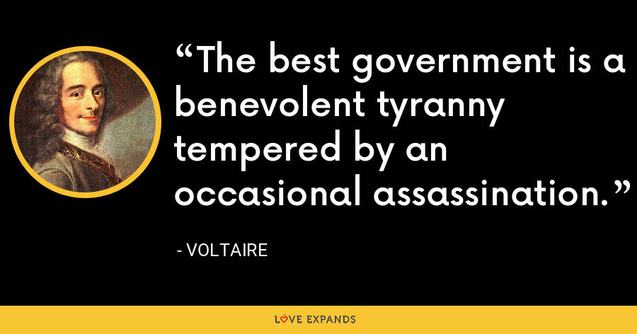 The best government is a benevolent tyranny tempered by an occasional assassination. - Voltaire