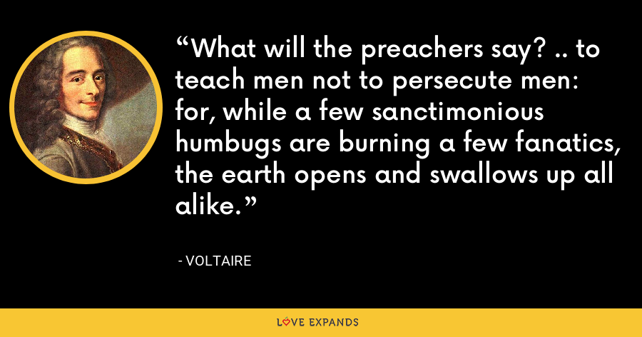 What will the preachers say? .. to teach men not to persecute men: for, while a few sanctimonious humbugs are burning a few fanatics, the earth opens and swallows up all alike. - Voltaire
