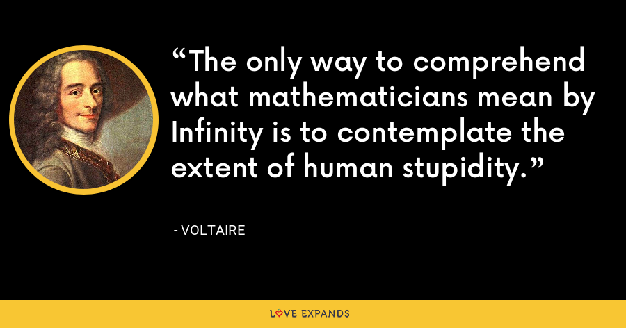 The only way to comprehend what mathematicians mean by Infinity is to contemplate the extent of human stupidity. - Voltaire