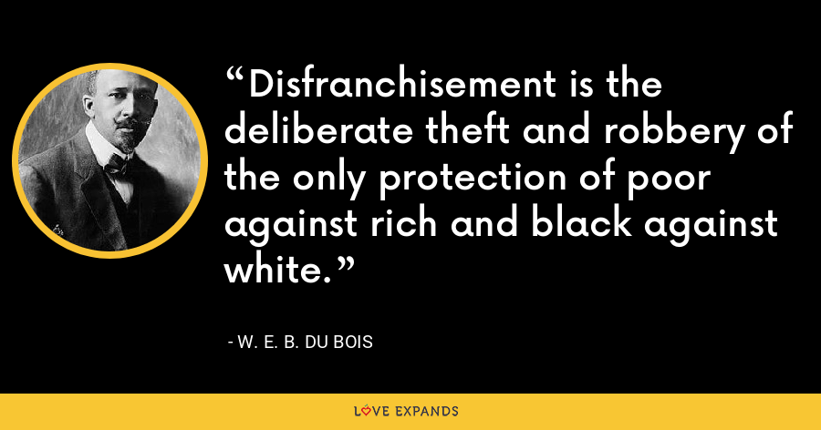 Disfranchisement is the deliberate theft and robbery of the only protection of poor against rich and black against white. - W. E. B. Du Bois