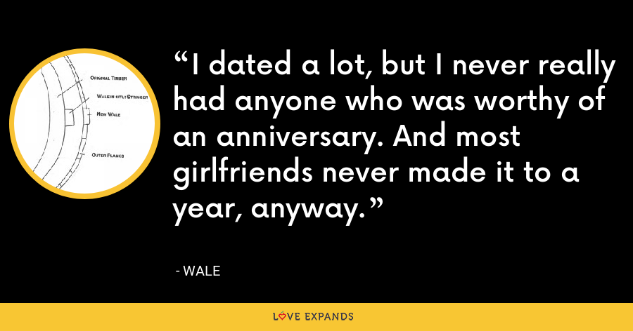 I dated a lot, but I never really had anyone who was worthy of an anniversary. And most girlfriends never made it to a year, anyway. - Wale