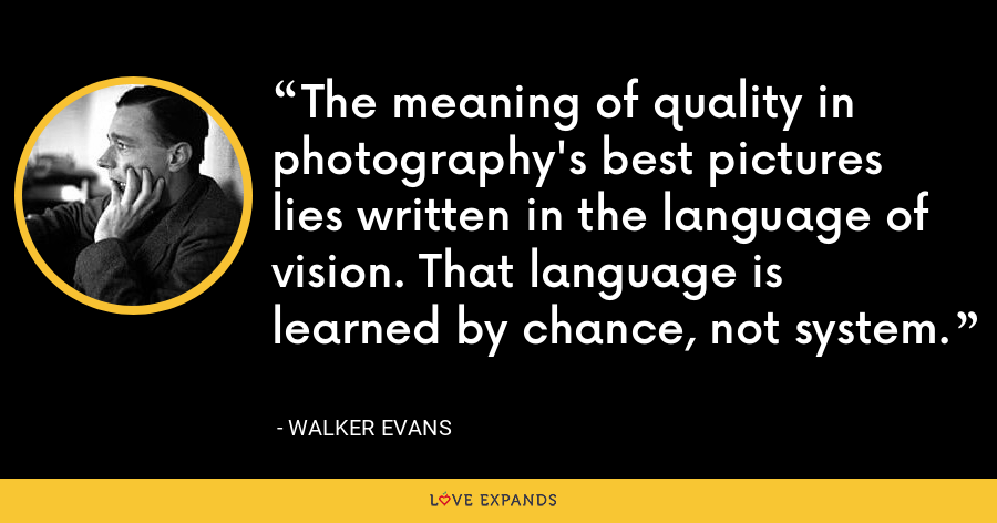 The meaning of quality in photography's best pictures lies written in the language of vision. That language is learned by chance, not system. - Walker Evans
