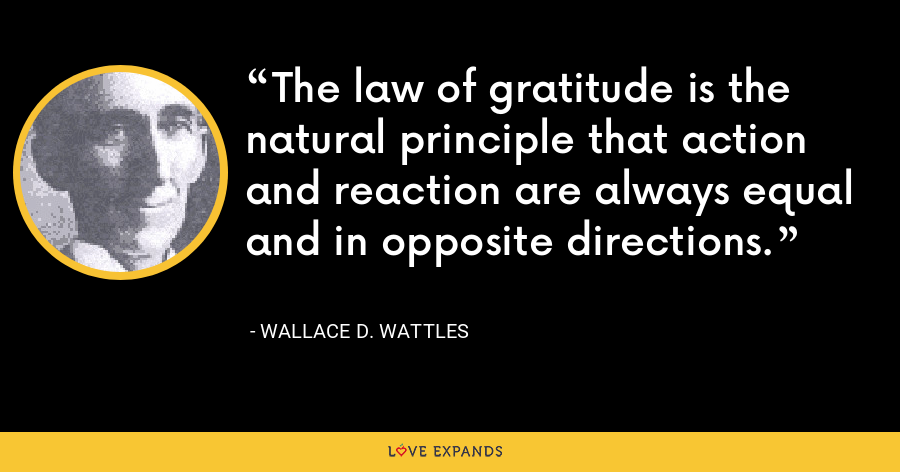The law of gratitude is the natural principle that action and reaction are always equal and in opposite directions. - Wallace D. Wattles