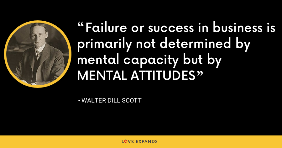 Failure or success in business is primarily not determined by mental capacity but by MENTAL ATTITUDES - Walter Dill Scott