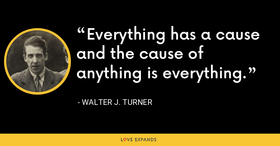 Everything has a cause and the cause of anything is everything. - Walter J. Turner