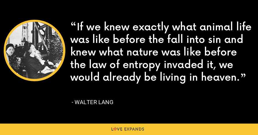If we knew exactly what animal life was like before the fall into sin and knew what nature was like before the law of entropy invaded it, we would already be living in heaven. - Walter Lang