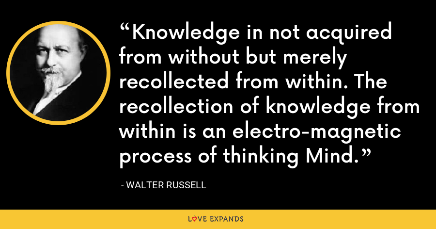 Knowledge in not acquired from without but merely recollected from within. The recollection of knowledge from within is an electro-magnetic process of thinking Mind. - Walter Russell