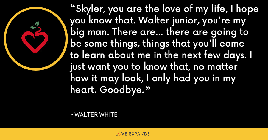 Skyler, you are the love of my life, I hope you know that. Walter junior, you're my big man. There are... there are going to be some things, things that you'll come to learn about me in the next few days. I just want you to know that, no matter how it may look, I only had you in my heart. Goodbye. - Walter White
