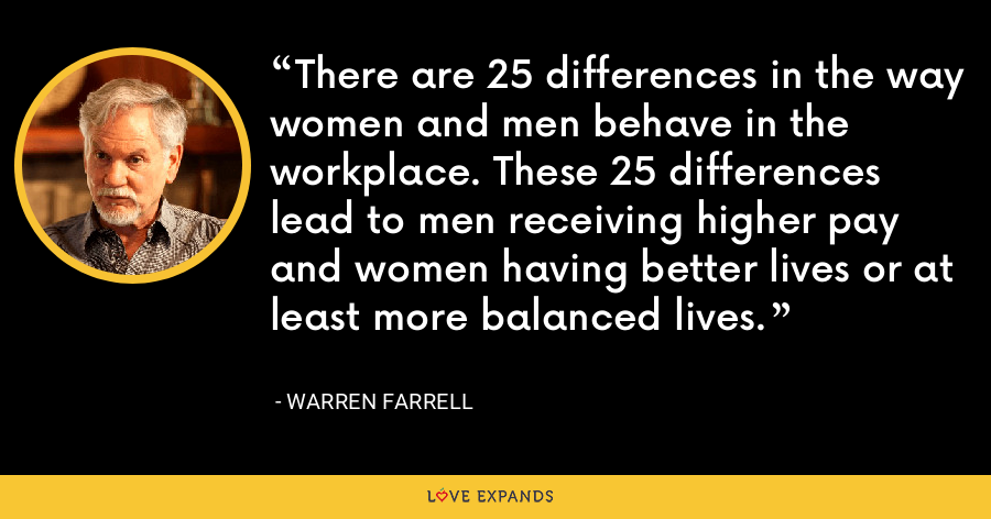 There are 25 differences in the way women and men behave in the workplace. These 25 differences lead to men receiving higher pay and women having better lives or at least more balanced lives. - Warren Farrell