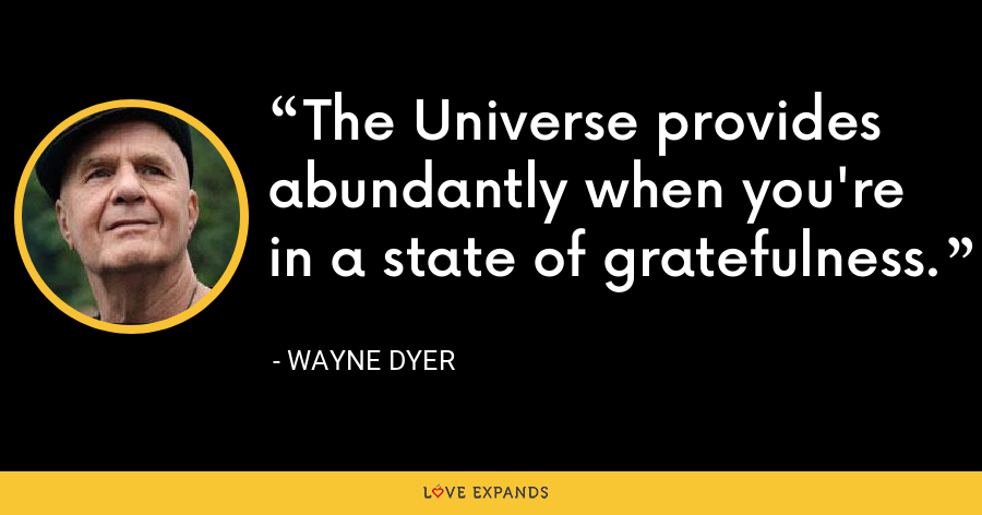 The Universe provides abundantly when you're in a state of gratefulness. - Wayne Dyer