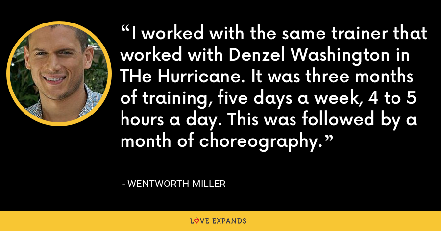 I worked with the same trainer that worked with Denzel Washington in THe Hurricane. It was three months of training, five days a week, 4 to 5 hours a day. This was followed by a month of choreography. - Wentworth Miller