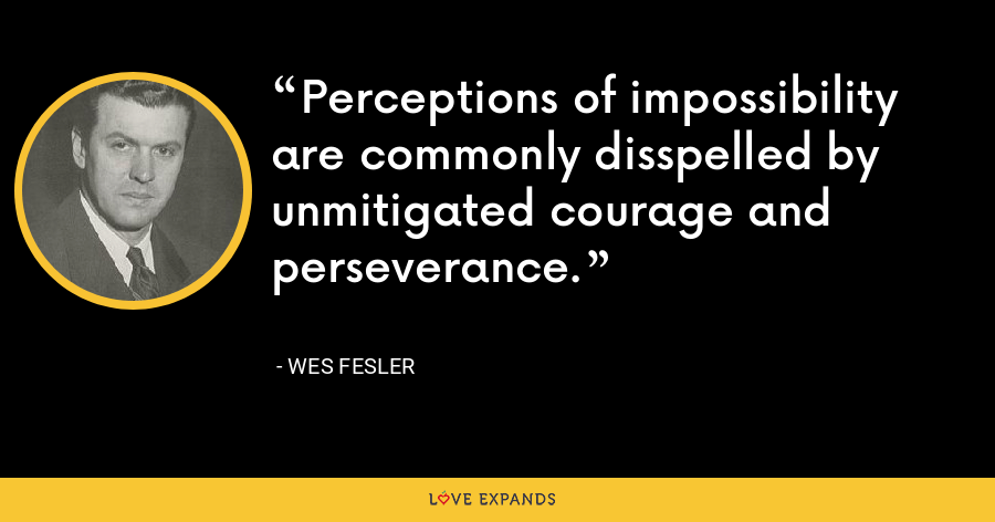 Perceptions of impossibility are commonly disspelled by unmitigated courage and perseverance. - Wes Fesler