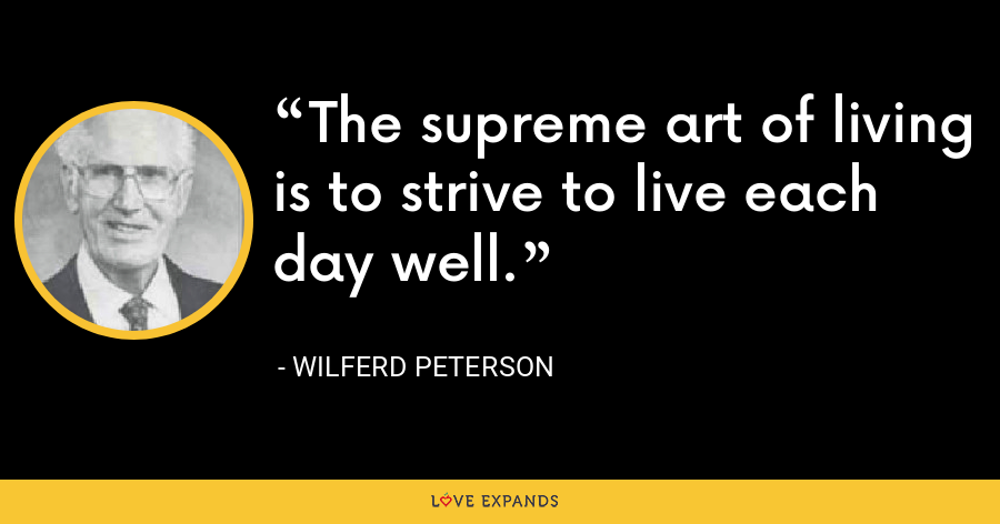The supreme art of living is to strive to live each day well. - Wilferd Peterson
