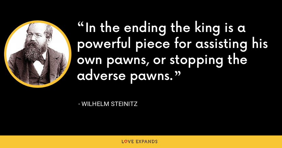 In the ending the king is a powerful piece for assisting his own pawns, or stopping the adverse pawns. - Wilhelm Steinitz
