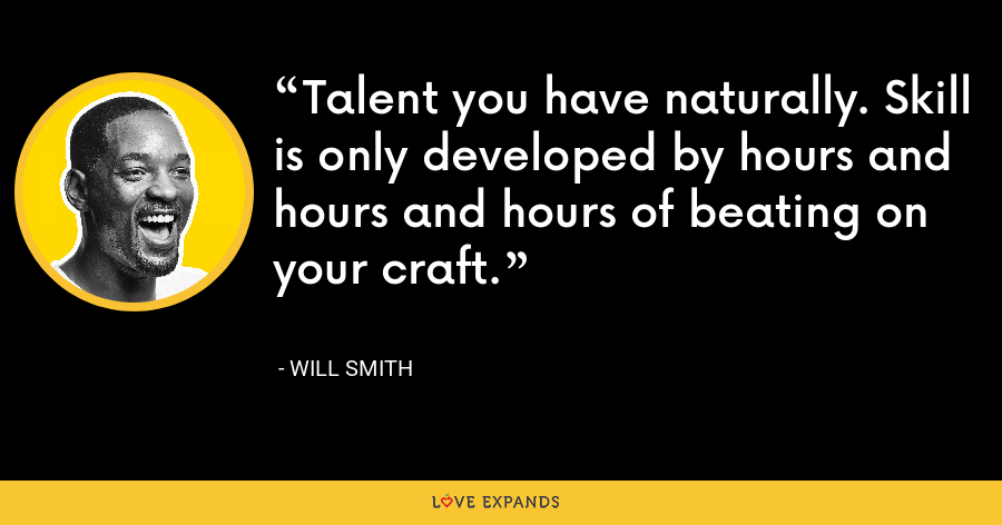 Talent you have naturally. Skill is only developed by hours and hours and hours of beating on your craft. - Will Smith