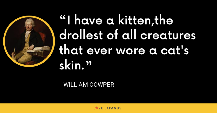 I have a kitten,the drollest of all creatures that ever wore a cat's skin. - William Cowper