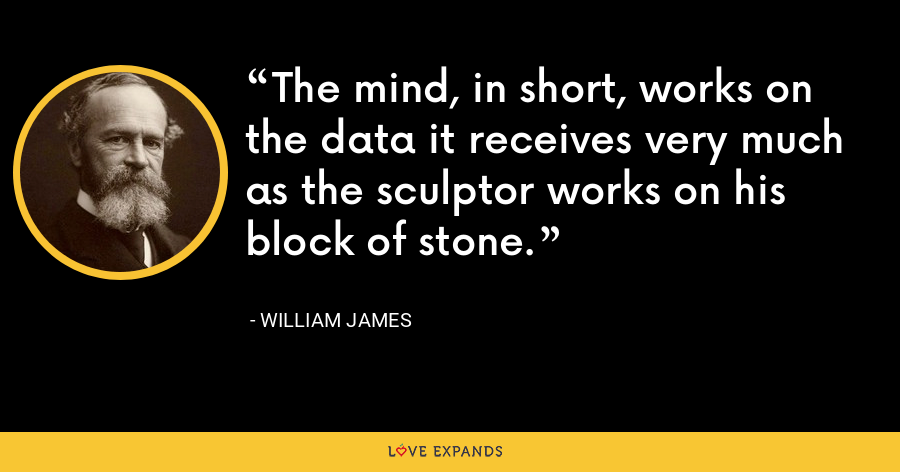The mind, in short, works on the data it receives very much as the sculptor works on his block of stone. - William James