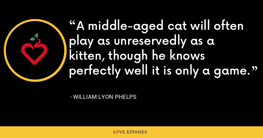 A middle-aged cat will often play as unreservedly as a kitten, though he knows perfectly well it is only a game. - William Lyon Phelps